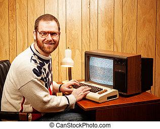 guapo, nerdy, adulto, utilizar, un, vendimia, computadora,...