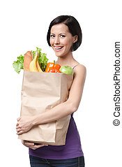 guapo, niña, con, el, paquete, de, fruta, y, vegetales