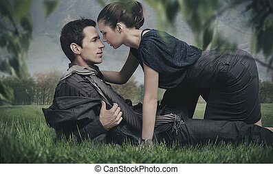 guapo, pareja joven, posar