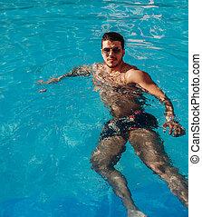 guapo, piscina, hombre