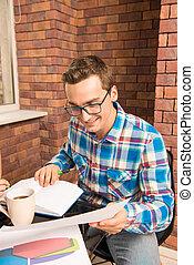 guapo, plan, estudiar, freelancer, joven, empresa / negocio