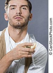 guapo, sexy, bebida, hombre, vino blanco