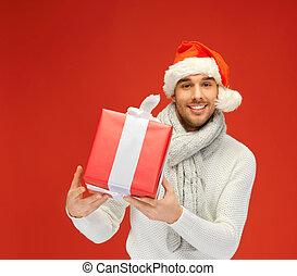 guapo, sombrero, navidad, hombre