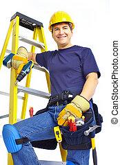 guapo, sonriente, constructor