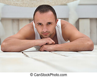 guapo, tipo, mentira en el piso, hogar