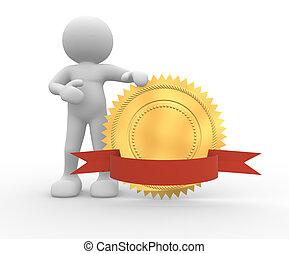 3d people - human character and golden guarantee medal with red bow. 3d render illustration