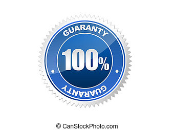 Guarantee blue stamp isolated on a white background