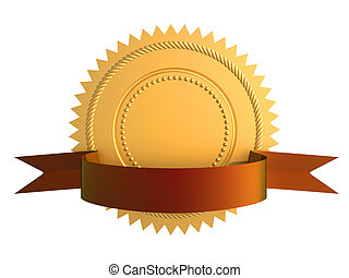 Guarantee gold seal - Golden guarantee medal with blue bow ...