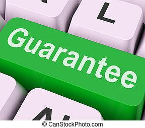 Guarantee Key On Keyboard Meaning Ensure Secure Or Assure