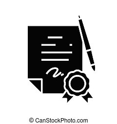 Guarantee mark black icon, concept illustration, vector flat symbol, glyph sign.