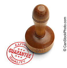 Guarantee Stamp - Red quality guarantee stamp with wooden...