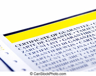 Guarantee - Closeup of the part of document like a...