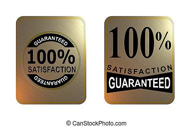 guaranteed, 広場, 金, 100%, シール, 満足