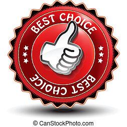 guaranteed, etiket, hand, vector, best, keuze, gebaar