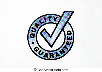 guaranteed, isolé, signe, fond, blanc, qualité