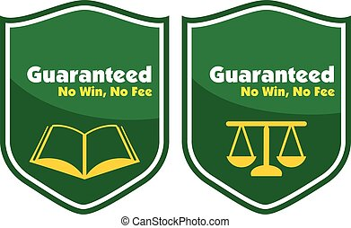 Guaranteed No win, No Fee label badge with a book and law...