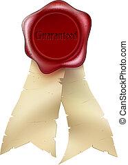 Guaranteed Wax Seal and ribbon