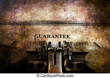 Guaranty  form on vintage typewriter