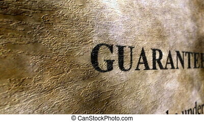 Guaranty text on grunge background