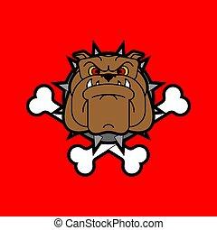 Guard dog crossbones. Angry dog head sign. vector illustration
