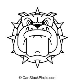 Guard dog face. Angry dog head sign. vector illustration