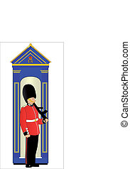 Guard Duty - A soldier on guard duty by his sentry box, ...