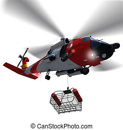 Guard helicopter lowering a rescue basket isolated. - 3d...