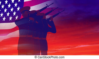 Render of soldiers shoot from the weapon, saluting against the sky and the American flag