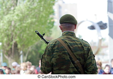 Guard of honour. Soldier with submachine gun 2