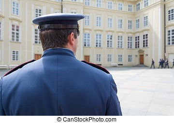 Guard of Prague Castle from behind
