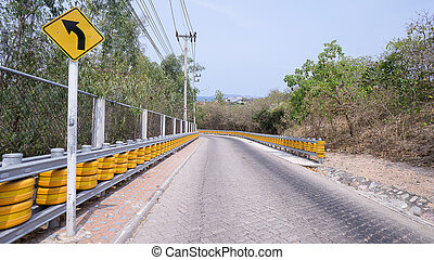 Guard rail or guardrail, sometimes referred to as guide rail or railing