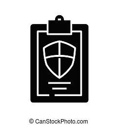 Guard test black icon, concept illustration, vector flat symbol, glyph sign.