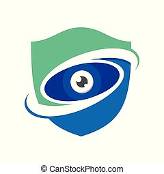 Guard Watch Blue Modern Shield Symbol Logo Design