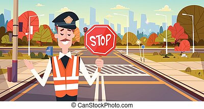Guard With Stop Sign On Road With Crosswalk And Traffic...