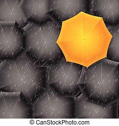 guarda-chuva amarelo, ligado, pretas, experiência., vetorial