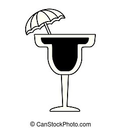 guarda-chuva branco, fundo, coquetel