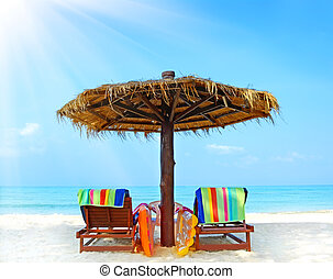 guarda-chuva, cadeiras, praia