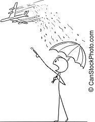 guarda-chuva, caricatura, teoria, jato, homem, conspiração,...