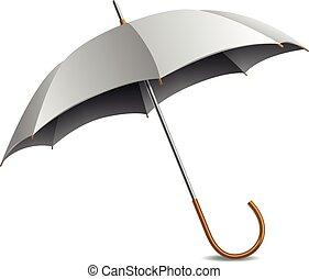 guarda-chuva, cinzento, ilustração, isolado, vetorial, branca