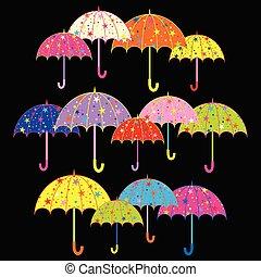 guarda-chuva, coloridos, fundo