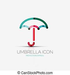 guarda-chuva, companhia, conceito, logotipo, proteção