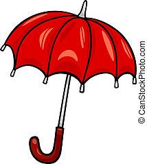 guarda-chuva, corte arte, caricatura, ilustração