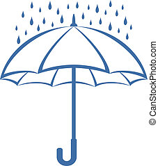 guarda-chuva, e, chuva, pictograma