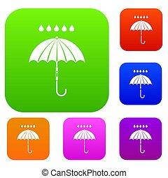 guarda-chuva, e, gotas chuva, jogo, cobrança