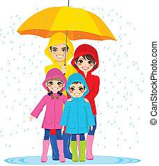 guarda-chuva, família, sob
