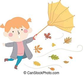 guarda-chuva, folhas, ilustração, outono, menina, criança