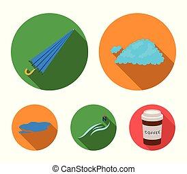 guarda-chuva, ground., jogo, vento norte, poça, ícones, web., estilo, cobrança, vetorial, apartamento, ilustração, tempo, nuvem, símbolo, estoque