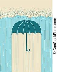 guarda-chuva, imagem, rain.vector, mão, escuro, desenhado, nuvens