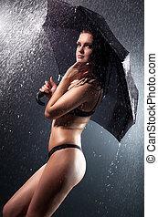 guarda-chuva, jovem, sob, chuva, mulher