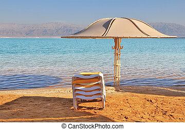 guarda-chuva, lounge, esperar, chaise, praia, turistas